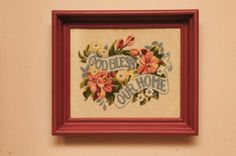 Vintage 1950s God Bless Our Home Cross Stitch in by whitepicket, $44.00