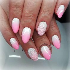 50 incredible ombre nail designs ideas that will look amazing in 2019 Ombre Nail Polish, Pink Ombre Nails, Nail Polish Trends, Gel Nail Art, Nail Trends, Nails Polish, Glitter Nails, Fun Nails, Cotton Candy Nails