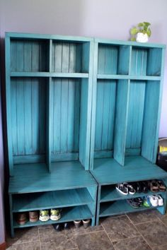 Beautiful beachy entryway lockers love this color Braden Entryway lockers | Do It Yourself Home Projects from Ana White