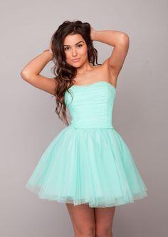Sukienkowo.pl - Tiulowa sukienka 3 warstwy mega rozłożysta miętowa AVRIL