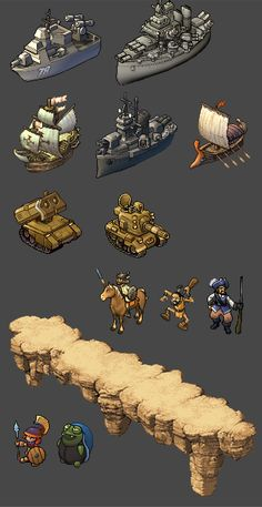 Ships, Tanks, Characters, and Scenery