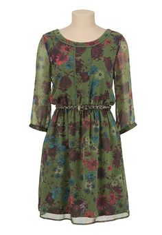 Belted Floral Print Peasant Dress (original price, $44) available at #Maurices