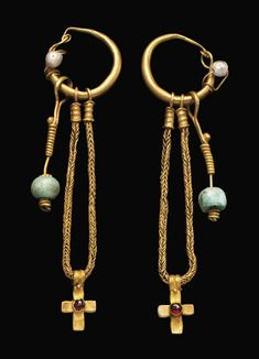 Byzantine gold, pearl, and garnet cross earrings, 5th-6th century CE. Courtesy of Christie's.