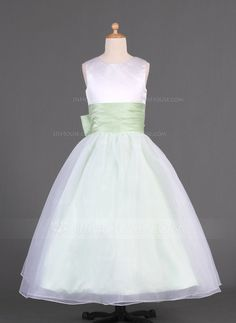 Flower Girl Dresses - $106.99 - A-Line/Princess Scoop Neck Floor-Length Organza Charmeuse Flower Girl Dress With Sash (010014633) http://jjshouse.com/A-Line-Princess-Scoop-Neck-Floor-Length-Organza-Charmeuse-Flower-Girl-Dress-With-Sash-010014633-g14633