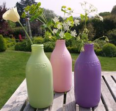 Makeover milk bottles for Mother's Day! We used PlastiKote Spray Paint's Outdoor in Blue Lilac, Cameo Pink and Everglade