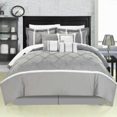 grey and white king size bedding