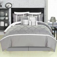 Beautiful Grey Gray White Stripe Textured Ruffled 8 PC Comforter Set King Size | eBay