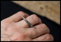 Minimalist Sterling Silver Bar Ring: Modern by AnniamAeDesigns