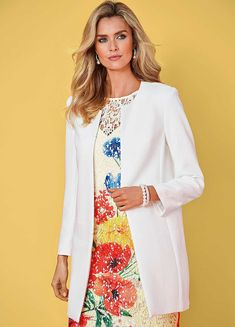 Smart Longline Jacket by Kaleidoscope Jasper Conran, Boucle Jacket, Silk Jacket, Durham, Occasion Wear, Occasion Dresses, Smart Casual Jackets, Winter Overcoat, Summer Coats