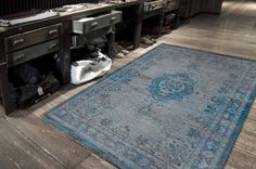Fading World Rug Grey Turquoise - Louis de Poortere - Shop By Brand - Rugs For Homes   Cotswold Mat Co
