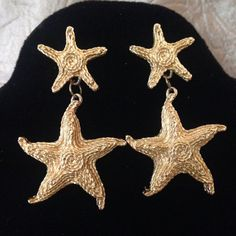 TRIFARI Tm Gold Tone STARFISH Pierced Dangle Earrings by GENEVEVES