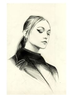 Gemma Ward for Prada spring 2015 #prada #gemmaward #ss15 #illustration Do you like my tight sweater ? - Caroline Andrieu