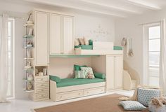 Modern Kids Bunk Beds Design with Green Color Styles - Home Interior Design - 27269