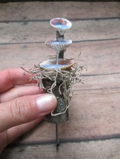Fairy Garden Seashell Water Fountain Miniature, using resin for water effect