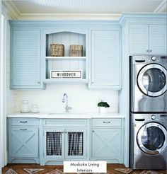 This blue LaundryRoom features a beadboard ceiling &; This blue LaundryRoom features a beadboard ceiling &; Barbara Ceiling This blue LaundryRoom features a beadboard ceiling over blue […] Ceiling trim Blue Laundry Rooms, Laundry Room Cabinets, Blue Cabinets, Laundry Room Organization, Small Laundry, Laundry Room Design, Upper Cabinets, Laundry Closet, Diy Cabinets