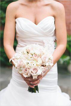 light pink and white bridal bouquet by Beautiful Blooms #whitebouquet #whiteflowers #weddingchicks http://www.weddingchicks.com/2013/12/19/glamorous-philadelphia-wedding/