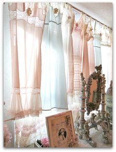 vintage slips window dressing