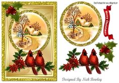 cottage snow scene with red cardinals   holly in glitter frame on Craftsuprint - View Now!
