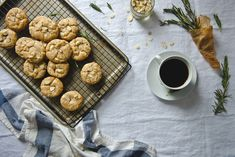 rosemary, almond,  white chocolate chip cookies | http://tworedbowls.com