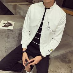 White Men's Jacket Coat Bust Letter Embroidery Stand Collar Male Jackets Autumn Windbreaker Korean Slim Fit College Jacket Men