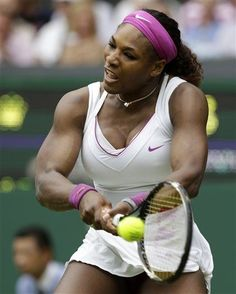 Serena Williams of the United States plays a return to Melinda Czink of Hungary during a second round women's singles match at the All England Lawn Tennis Championships at Wimbledon, England, Thursday, June 28, 2012. (AP Photo/Anja Niedringhaus)