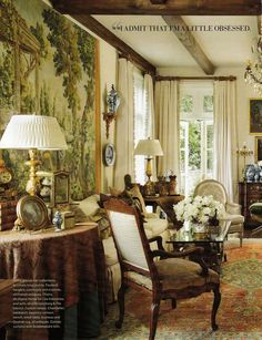 """A question I am asked frequently pertaining to French arm chairs is """"what is the difference between a fauteuil and a bergère. While people . English Interior, Classic Interior, French Interior, French Decor, French Country Decorating, French Country House, Wabi Sabi, Beautiful Interiors, Home And Living"""