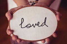 handstitched 'loved' by SentimentalSundays on Etsy, $15.00