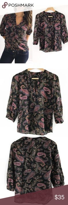 """Lucky Brand Paisley Top Lucky Brand Paisley Top! This top is the perfect """"effortless look"""" addition to your closet. Excellent condition. Light wight and super comfortable. 100% cotton. Buttons on neckline. Measurements Chest-37"""" length-23"""" sleeves-16.5"""" size small. Lucky Brand Tops Blouses"""