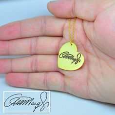 Gold Heart Necklace Sterling Silver by weimeiOrnaments on Etsy