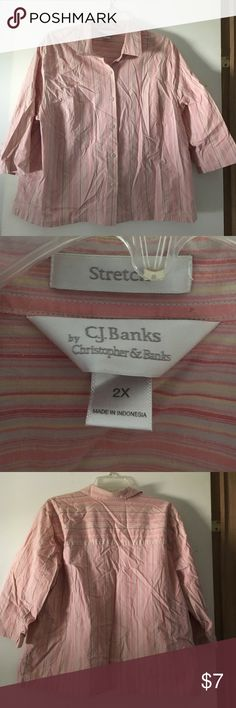 """CJ Banks 3/4 sleeve button down Sz 2x Pink striped button down shirt by CJ Banks. Size 2x. Really cute with shorts, khakis , capris or jeans.  Excellent condition. Measures 24"""" pit to pit and 25"""" shoulder to hem. CJ Banks Tops Button Down Shirts"""