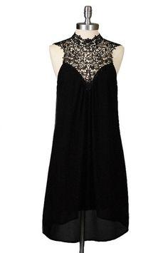 Dreamland Lace Neck Dress - Black - $52.00   Daily Chic Dresses   International Shipping