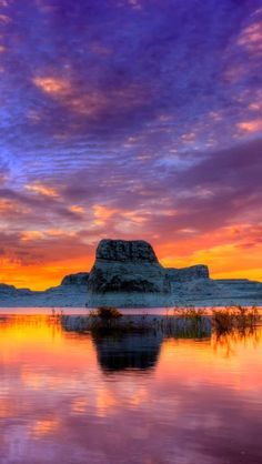 !!TAP AND GET THE FREE APP! Landscapes Sky Seaside Sunset Rock Colorful Lake Beautiful Nature HD iPhone 5 Wallpaper