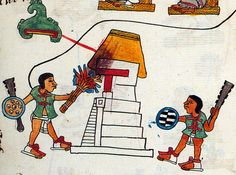 Aztec warriors take part in the destruction of Culhuacan: torching the thatched roof of a temple was a traditional gesture of conquest. Codex Telleriano-Remensis, folio 29r