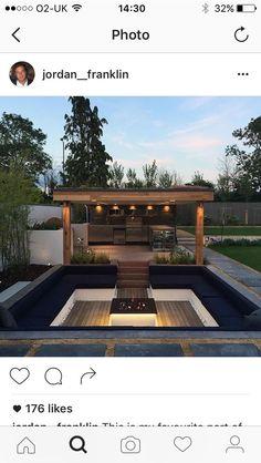 35 Ideas For Sunken Garden Seating Backyard Fire Pits Backyard Seating, Backyard Patio Designs, Outdoor Seating Areas, Fire Pit Backyard, Backyard Landscaping, Backyard Bbq, Backyard Ideas, Firepit Ideas, Bbq Outdoor Area