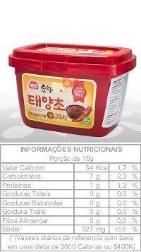 Pasta de Pimenta Coreana – Taeyangcho Gochujang (Hot Pepper Paste) - 500g Pasta à base de pimentas vermelhas desidratadas e moídas.  Tradicional da culinária coreana, a pasta de pimenta é indicada para temperar refogados.