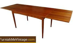 Sleek draw leaf design mid century modern dining table by Hovmand Olsen. The table is stamped beneath with the maker's mark and Danish Control emblem, a designation reserved for only the finest Danish teak furniture. Danish Modern, Mid-century Modern, Midcentury Modern Dining Table, Leaf Drawing, Teak Table, Teak Furniture, Olsen, Leaf Design, Mid Century