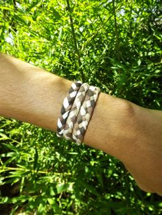 Braided Rustic  Brown Combination Bracelet by Badart on Etsy, $10.00