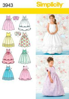 Child Special Occasion Dress Sewing Pattern 3943 Simplicity- Sophia the first