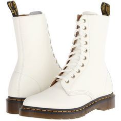 Dr. Martens Alix 10-Eye Zip Boot Women's Zip Boots, White ($60) ❤ liked on Polyvore featuring shoes, boots, zapatos, white, dr. martens, zip boots, pointed booties, hippie boots and slip resistant boots