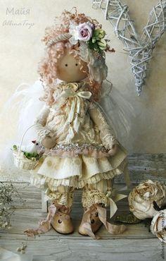 Коллекционные куклы ручной работы. Ярмарка Мастеров - ручная работа Текстильная кукла. Кукла ангел Майя. Бохо стиль. Handmade.