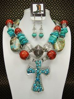 TURQUOISE and CORAL Chunky Western Cowgirl