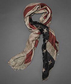 John Varvatos Official Site: Shop Online , VARV-3827 Antique Printed Flag Scarf, johnvarvatos.com