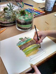 terrarium watercolor still life