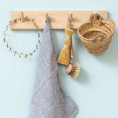 Patère en bois : 4 crochets