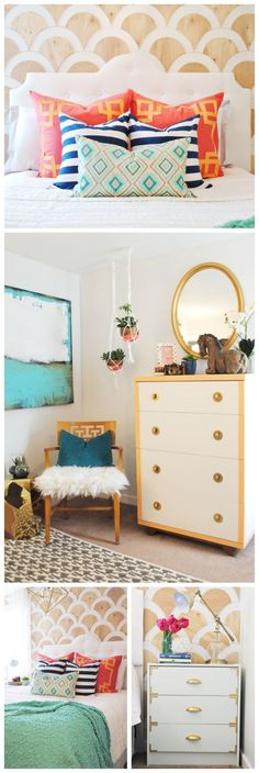 A DIY wood-scalloped wall becomes the focal point for this colorful master bedroom makeover. They're relatively easy, inexpensive and perfect for renters because they won't damage the wall.