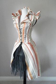Majestic Pirate long corset coat, 34-35 natural waist, steel boned. AliceAndWillow by Innerversion