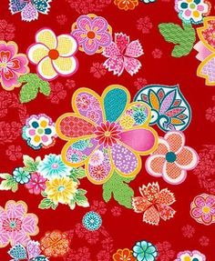 ➤Japanese quilt fabric with colorful design. See more fabrics like this at: http://www.debsews2.com/