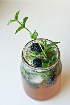Blackberry Smash 2 tbsp coarse sugar 2 1/2 tbsp lime juice 8-10 fresh mint leaves 1 1/2 oz. Chambord 1 oz. Jack Daniels.