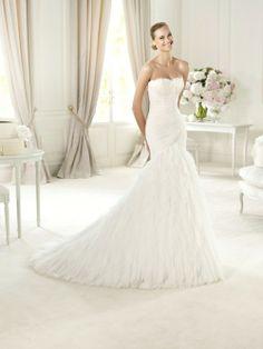 Trumpet Mermaid Sweetheart Chapel Train Ivory Wedding Dress H5pn0234 for $1,076