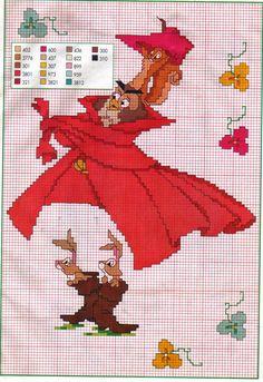 sleeping beauty disney animals schemi_cartoni_animati_144 free cross stitch pattern